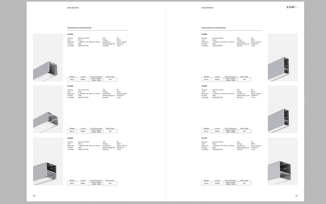 LUMI+, Lights, Experts, Industrial Lights, Commercial, Designer Lights, Linear Lights, Catalogue, Branding, Identity, Graphic Design, Catalogue Design, Marc Ruiz